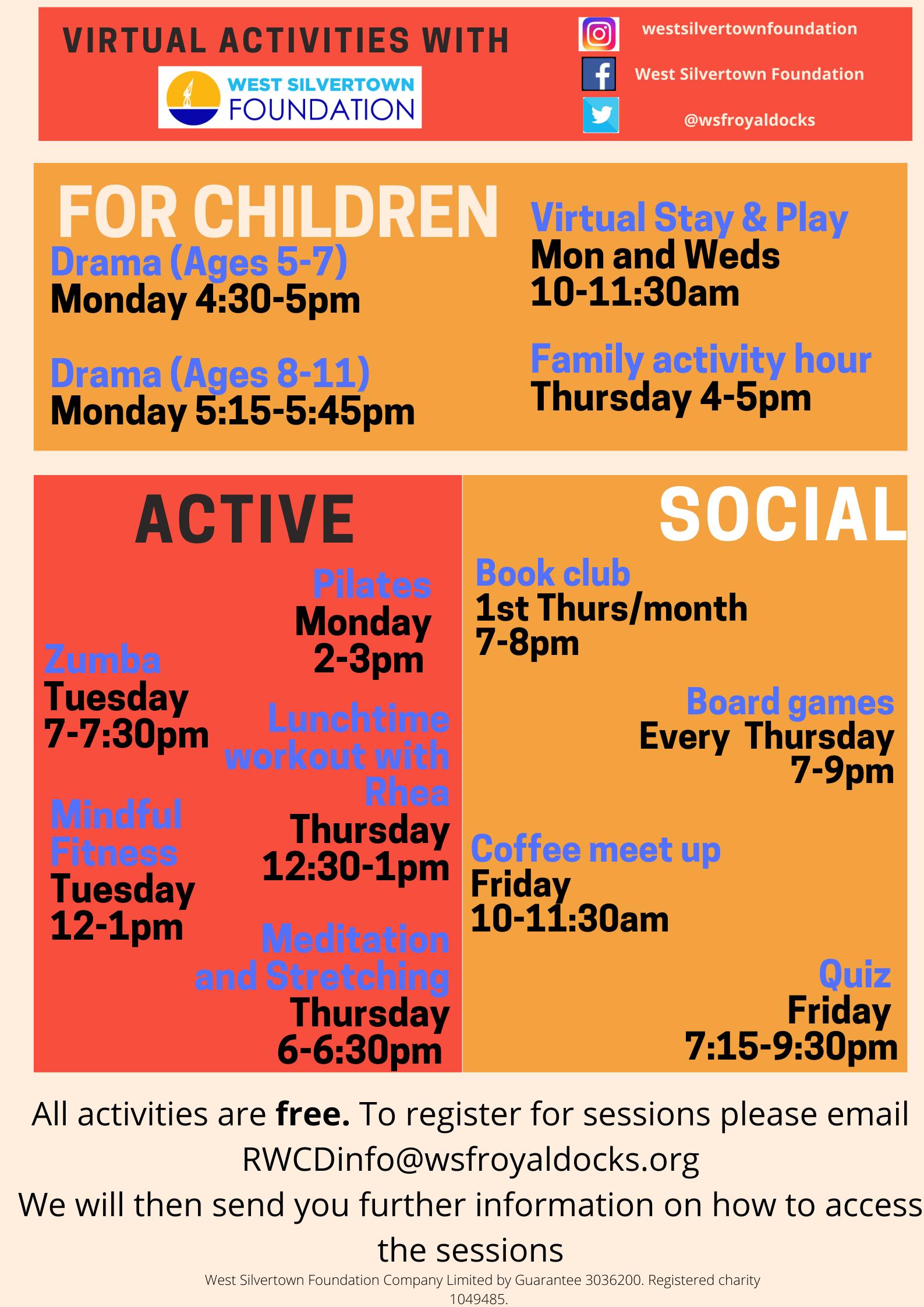 Virtual activities flyer