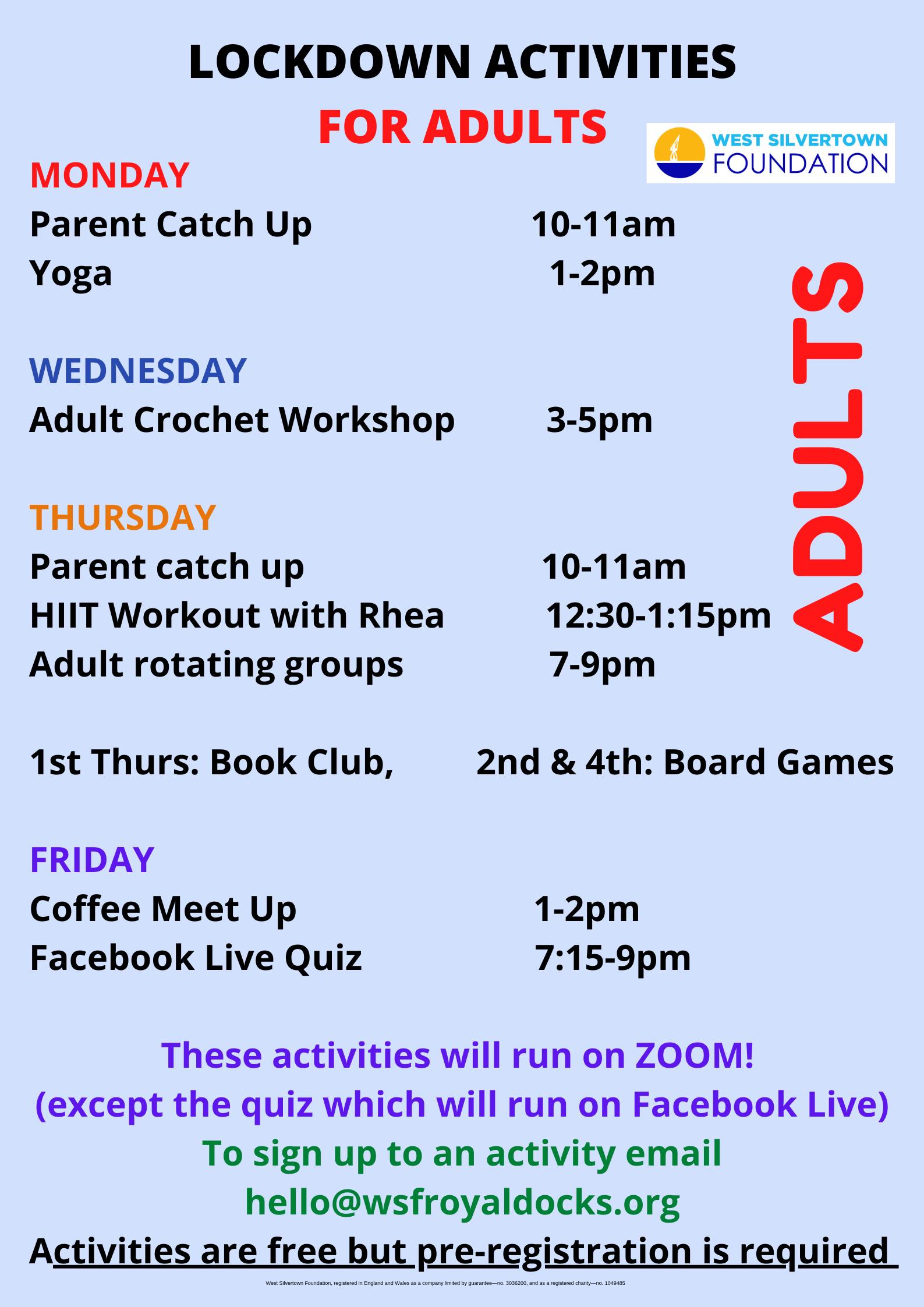 Adult timetable
