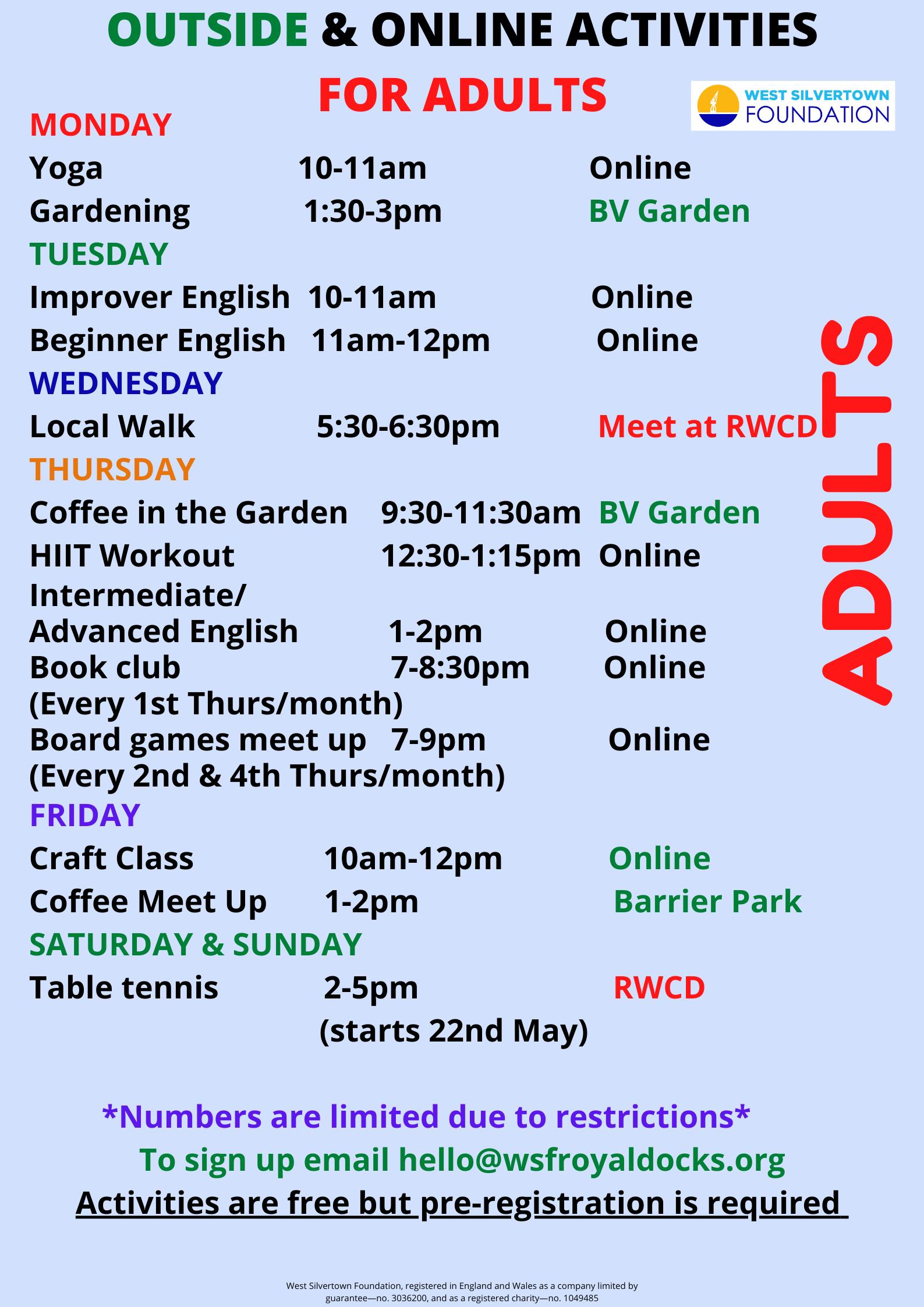 Adult activities April 21