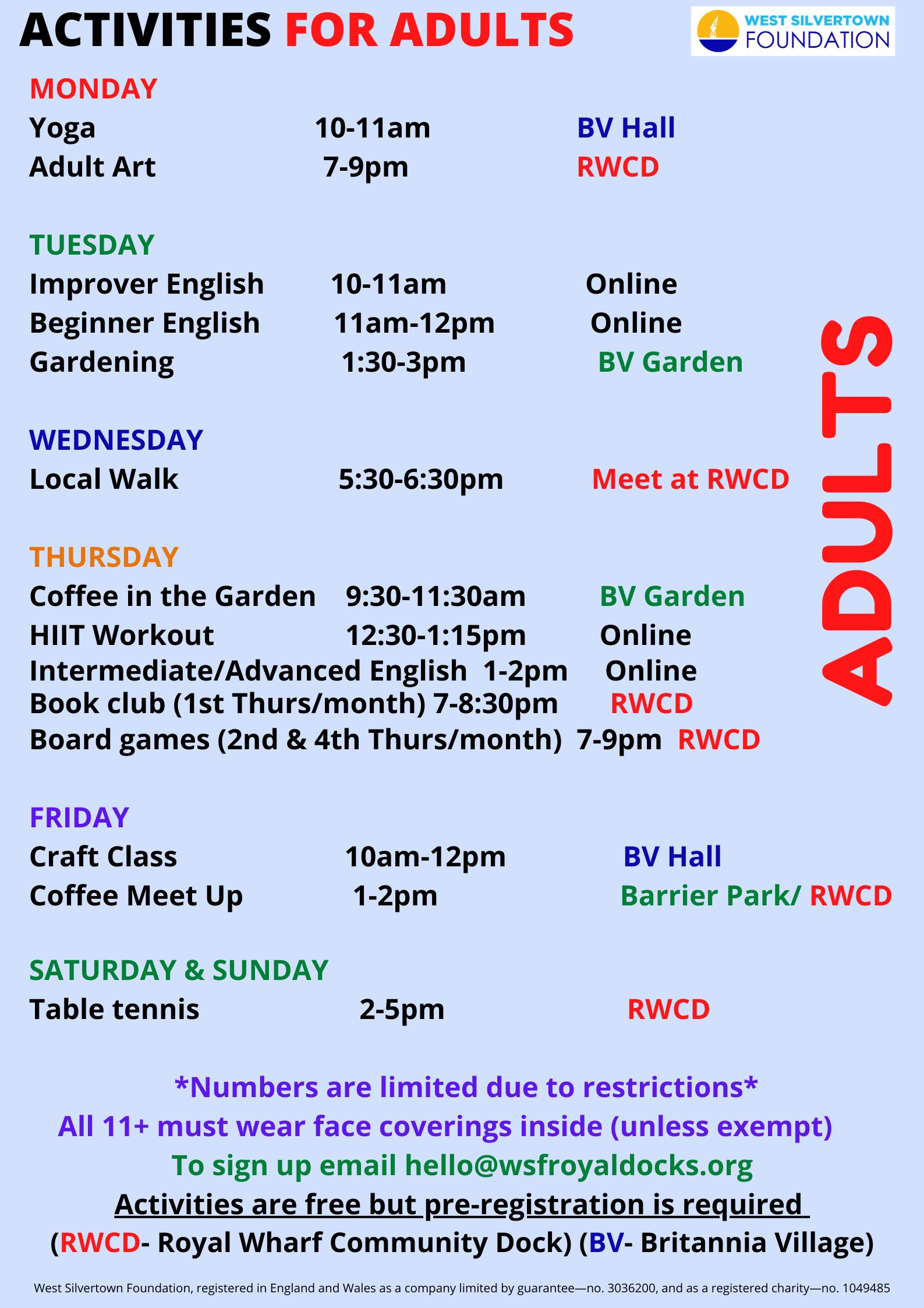 Adult activities June 21