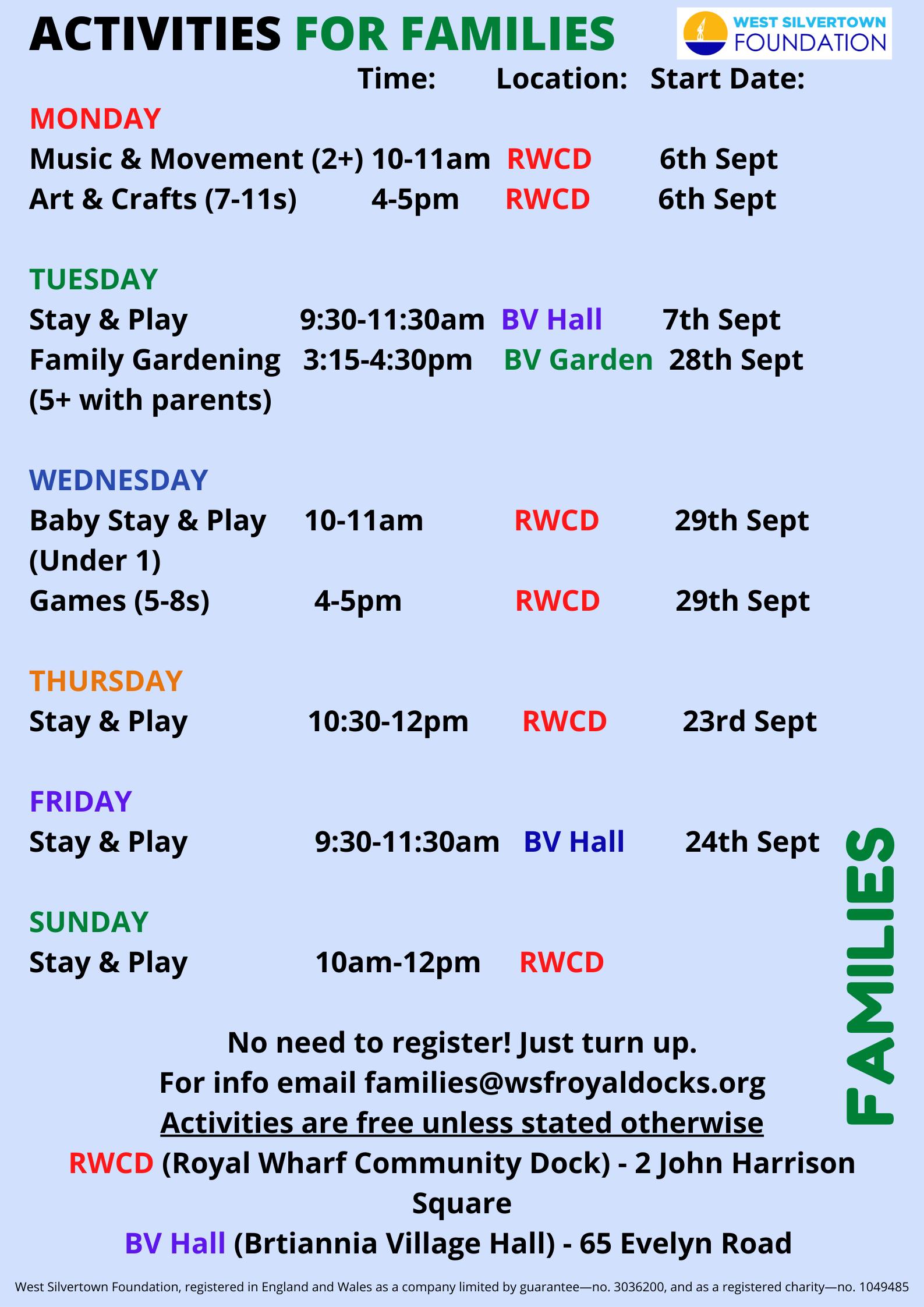 Kids Activities September 21