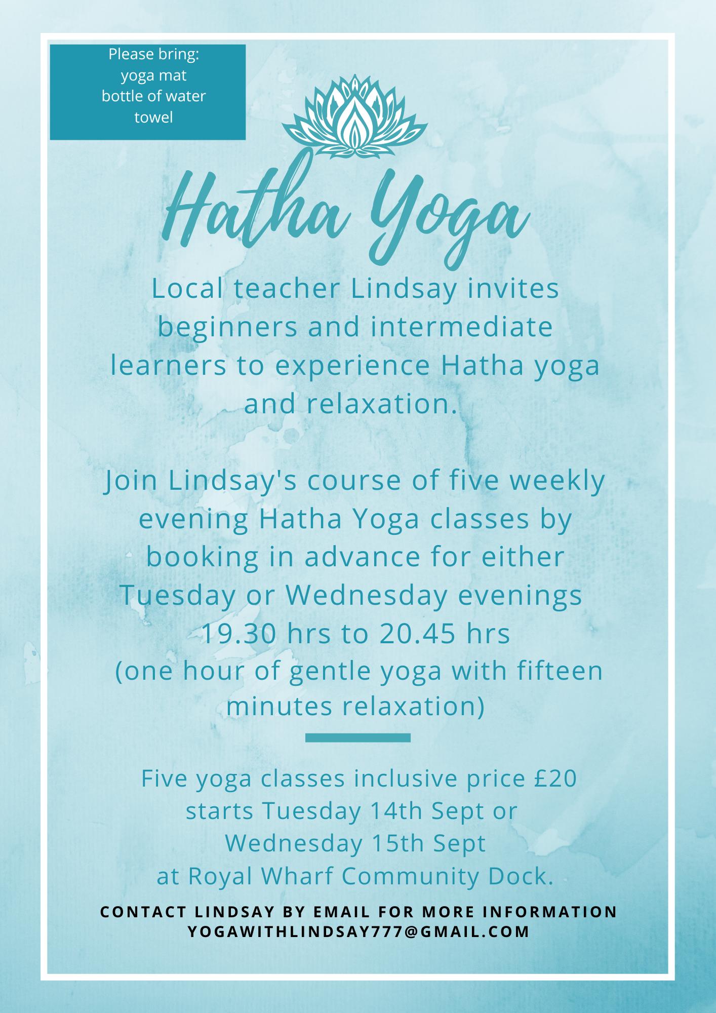 Yoga with Lindsay flyer